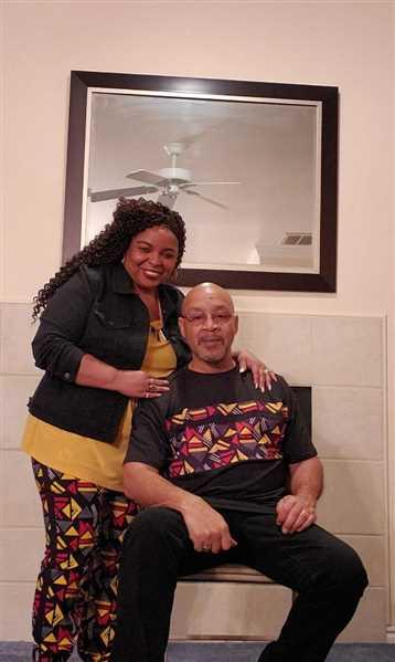 Yolanda Anderson verified customer review of Abio African Print Men's Color Block Tee (Black/ Red Yellow Geometric)