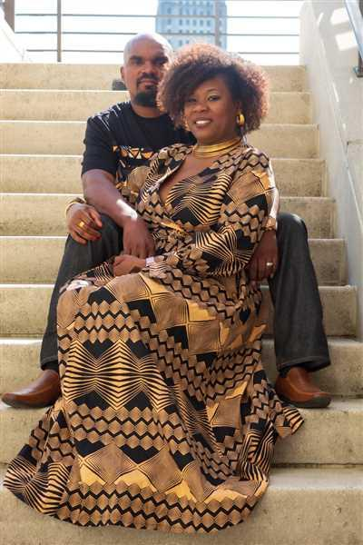 Tremaine jackson verified customer review of Bahati African Print Puff Sleeve Maxi Dress (Black Peach Geometric)