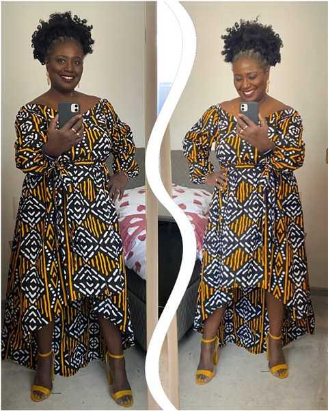 Deborah  verified customer review of Afua African Print High-Low Off-Shoulder Maxi Dress (Black Gold Mudcloth)
