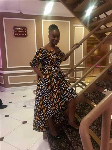 Monica Dixon verified customer review of Afua African Print High-Low Off-Shoulder Maxi Dress (Black Gold Mudcloth)