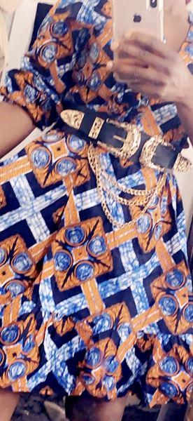 D'IYANU Aria African Print Midi Wrap Dress (Navy Orange Tiles) Review