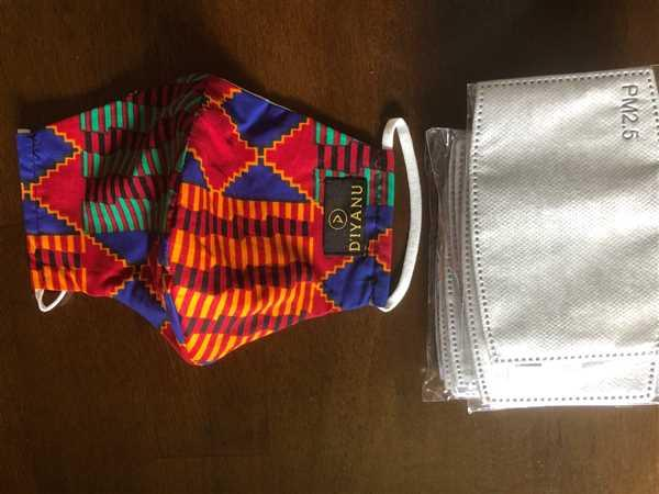 D'IYANU SHAKA REUSABLE FACE MASK W/ complementary filter (BLUE RED KENTE) Review