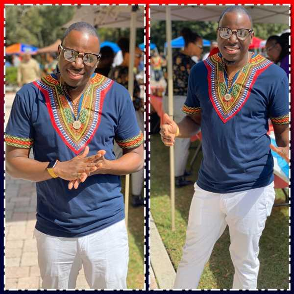 Troy Johnson verified customer review of Men's African Print Dashiki T-Shirt (Navy)