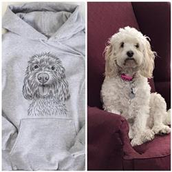 James E. verified customer review of Clover the Cockapoo - Mens Hooded Sweatshirt