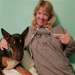 Debra T. verified customer review of Jett the Bull Terrier - French Terry Hooded Sweatshirt