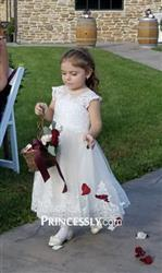 Misdress Ivory Lace Champagne tulle Cap Sleeves Wedding Flower Girl Dress with Beading Review