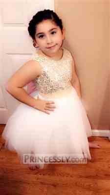 Misdress Gold Sequin Ivory Tulle V Back Wedding Flower Girl Dress with Pink Lace belt Review