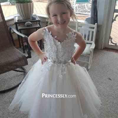 Kimberly Roggio verified customer review of Ivory lace Tulle Spaghetti straps Wedding Flower Girl Dress with Beaded Belt