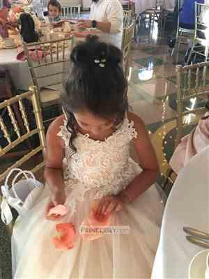 Linda verified customer review of Ivory lace Tulle Spaghetti straps Wedding Flower Girl Dress with Beaded Belt