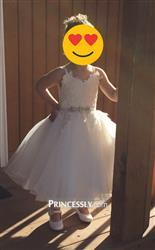 Ashton verified customer review of Ivory lace Tulle Spaghetti straps Wedding Flower Girl Dress with Beaded Belt