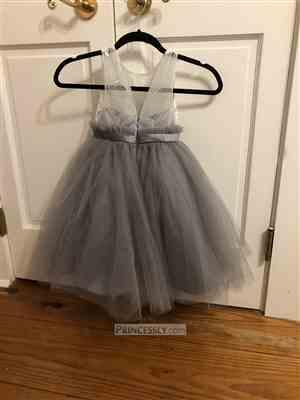Misdress Ivory Lace Dusty Blue Tulle Sheer Back Wedding Flower Girl Dress with Belt Review