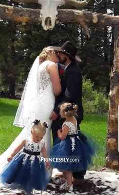 Misdress Ivory Lace Navy Blue Tulle Wedding Flower Girl Dress with V Back Review