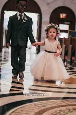 Misdress Ivory Lace Tulle Pink Lining Wedding Flower Girl Dress with Navy Blue Sash Review