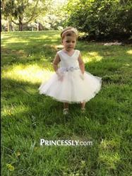 Misdress V Neck Ivory Satin Champagne Tulle Wedding Flower Girl Dress with Beaded Belt Review
