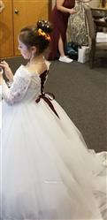 Misdress Off Shoulder Long Sleeves Beaded Lace Tulle Wedding Flower Girl Dress with Train Review