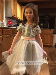 Misdress Short Sleeves Silver Sequin Gray Tulle Wedding Flower Girl Dress Review