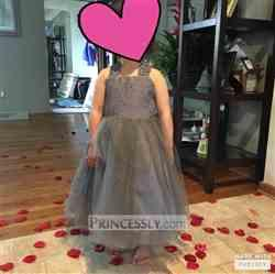 Misdress Backless Gray Lace Tulle Flower Girl Dress with Big Bow Review