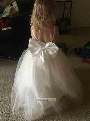 Misdress Straps Ivory Lace Tulle Backless Wedding Flower Girl Dress with Bow Review
