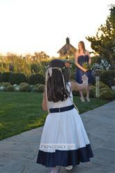 Misdress Ivory Satin Flower Girl Dress with navy blue belt / bow Review