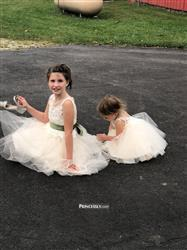 Misdress Ivory Lace Champagne Tulle Keyhole Back Wedding Party Flower Girl Dress with Belt Review