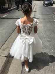 Misdress Satin Tulle Beaded Lace Cap Sleeves Sheer Back Wedding Flower Girl Dress with Bow Review