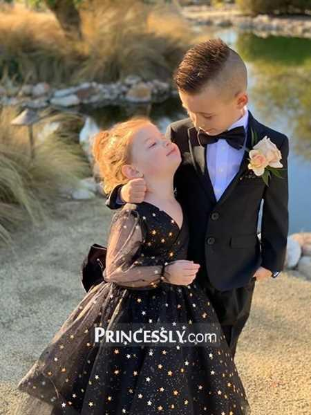 Misdress Black Gold Star Tulle V Back Long Sleeves Wedding Flower Girl Dress Review