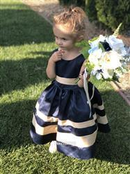 Misdress Navy Blue Satin Ivory Stripes Flower Girl Dress Review