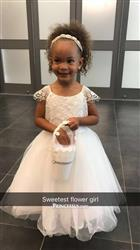 Misdress Lace Cap Sleeves Ivory Tulle TUTU Flower Girl Dress Review