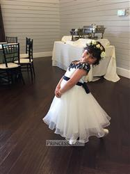 Misdress Navy Blue Lace Ivory Satin Tulle Flower Girl Dress with navy blue sash Review