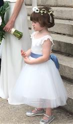 Misdress Ivory Lace Cap Sleeves Tulle Flower Girl Dress with ivory sash Review