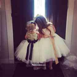 Misdress Blush Pink/Gold Sequin Ivory Tulle Flower Girl Dress with navy/champagne sash Review