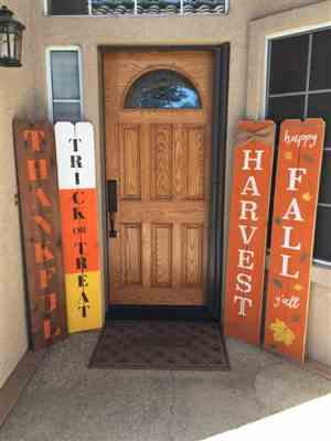 Natalie E. verified customer review of Vertical Happy Harvest Y'all Porch Stencil