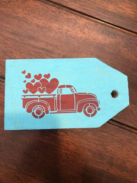 Karen verified customer review of Valentine's Truck Mini Tag Stencil Set (3 Pack)