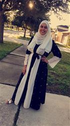 UrbanModesty.com Black and White Pearl Open Front Abaya-CLEARANCE Review