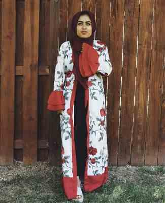 UrbanModesty.com Red Floral Embroidery Ruffle Sleeve Open Front Abaya Review