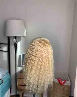 maggie hudson verified customer review of High Density Transparent Full Lace Wig #613 Blonde 180% 200% Deep Wave Shela Hair