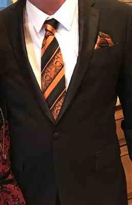 George Dempsey verified customer review of Fiery Orange and Black Silk Tie and Pocket Square