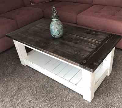 S.East verified customer review of Chunky farmhouse coffee table, clean lines, distressed 48 inch