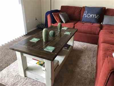 Shelby Clary  verified customer review of Chunky farmhouse coffee table, clean lines, distressed 48 inch