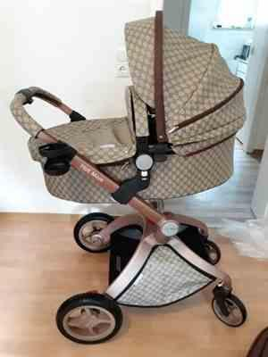 T A Y Online Store 3 in 1 Leather Hot Mom Stroller  High Landscape Folding Chair 360 Degree Rotation Luxury Pram With Bassinet Review