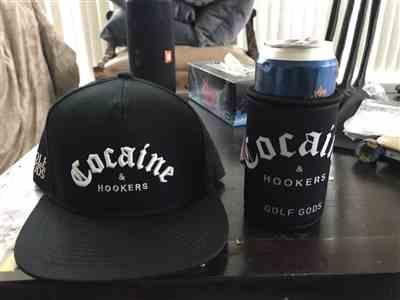 Julien D. verified customer review of Golf Gods - Cocaine & Hookers Koozie