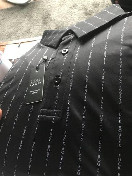 Graham M. verified customer review of Golf Gods - Fuck Bogeys Pin Stripe Cool Tech Performance Polo (Black)