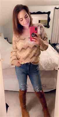 Sara Holmes verified customer review of Back Again Chevron Sweater - Taupe