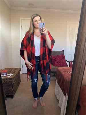 Christy verified customer review of Date in the Mountains Buffalo Plaid Poncho - Red & Black