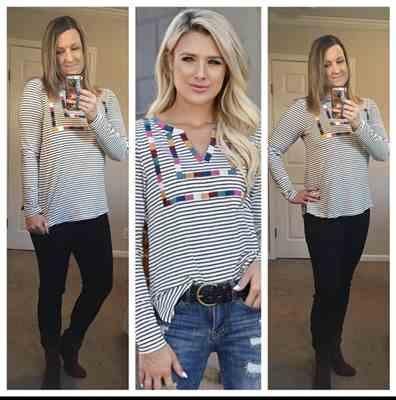 Christy verified customer review of Carefree Striped Top - Ivory
