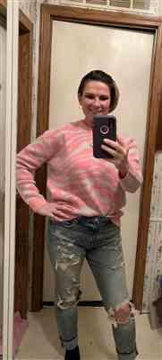 Stephanie verified customer review of All Yours Zebra Pullover Sweater - Pink & Grey