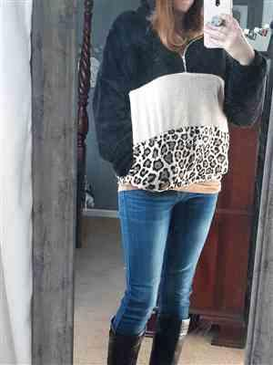 Lauren Chastain verified customer review of Let's Do This Leopard Hoodie - Black