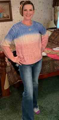 Stephanie James verified customer review of Cotton Candy Dreams Ombre Sweater