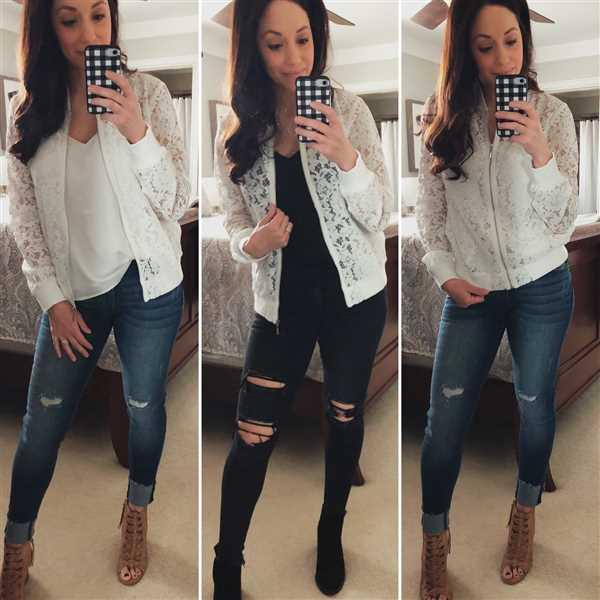 Chelsea Lobato verified customer review of Chic Statement Lace Bomber Jacket - White