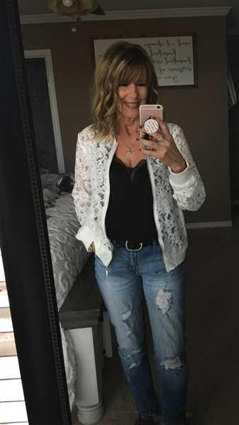 Laurie White verified customer review of Chic Statement Lace Bomber Jacket - White